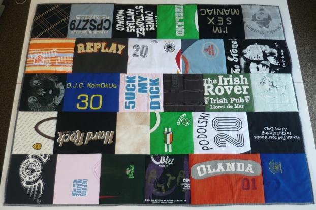 herinneringsdeken van t-shirts